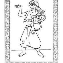 Desenho do Aladdin e do Abu para colorir