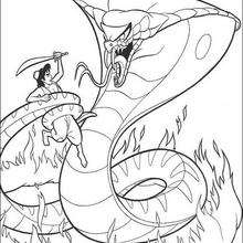 Desenho do Aladdin com a cobra para colorir