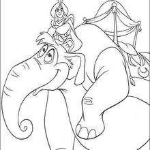 Desenho do elefante do Aladdin para colorir