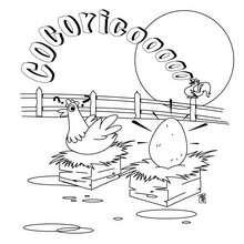 Desenho de uma galinha com um galo para colorir