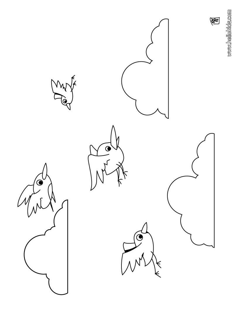 Desenho de pássaros voando para colorir