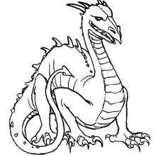 Desenho de um dragão de cabeça grande para colorir