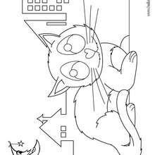 Desenho de um gato com a lua para colorir