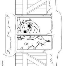 Desenho de uma menina na janela no dia do Natal para colorir