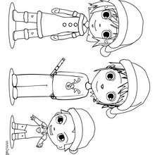 Desenho da Ana, Teo e Matias festejando o Natal para colorir online