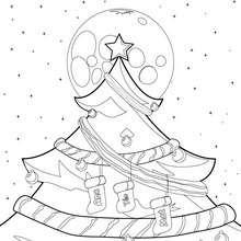 Desenho de uma árvore de Natal decorada para colorir