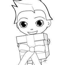 Desenho do Teo feliz com o seu presente de Natal para colorir
