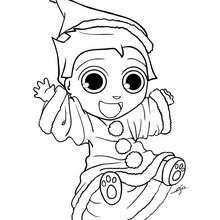 Desenho do Teo fantasiado de Papai Noel para pintar