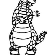 Desenho de um dragão dançando para colorir