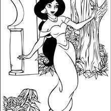 Desenho da princesa Jasmin cantando para colorir