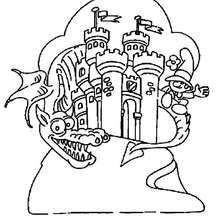 Desenho de um dragão no castelo para colorir