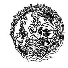 Mandala com um dragão para colorir