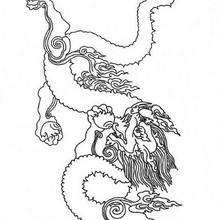 Desenho de um dragão com fogo para colorir