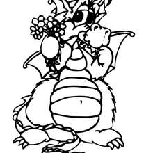 Desenho de um dragão com flores para colorir