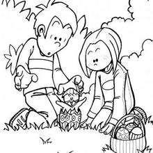 Desenho da procura dos ovos de Páscoa para colorir
