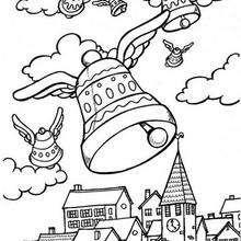 Desenho de sinos da páscoa voando para colorir
