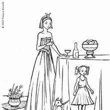 Desenho de uma Princesa com um cachorrinho para colorir
