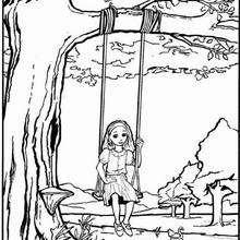 Desenho de uma menina no balanço para colorir