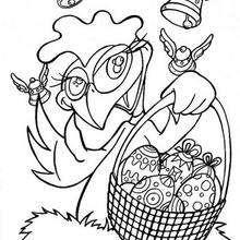 Desenho de uma galinha com uma cesta de páscoa para colorir
