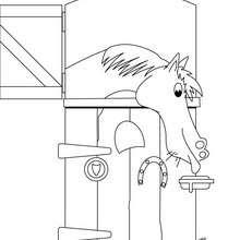 Desenho de um Cavalo no curral para colorir