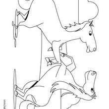 Cavalos brigando para colorir