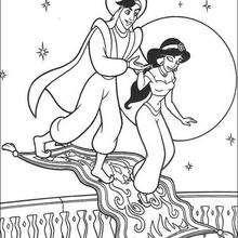 Desendo da Jasmin, do Aladdin e do tapete mágico para colorir