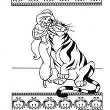 Desenho da Princesa Jasmin com seu Tigre de estimação para colorir
