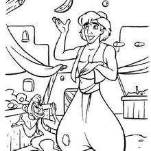 Desenho do Aladdin fazendo malabarismo para colorir