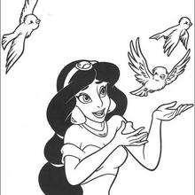 Desenho da Jasmin com pássaros para colorir