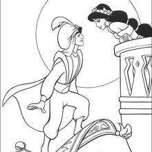 Desenho da Jasmin beijando o Aladdin para colorir