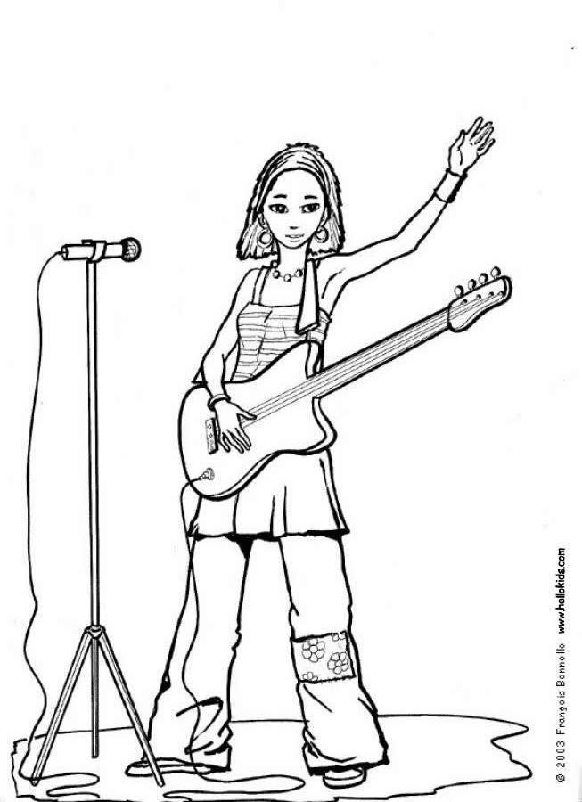 desenhos para colorir de desenho de uma cantora com sua guitarra
