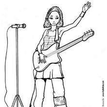 Desenho de uma cantora com sua guitarra para colorir