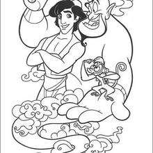Desenho do Gênio com o Aladdin e seu macaquinho, Abu para colorir