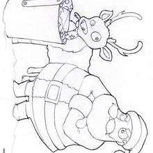 Desenho do Papai Noel com sua Rena para colorir