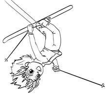 Desenho da Ana fazendo acrobacias no esqui para colorir