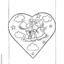 Desenho de Anjos apaixonados para colorir