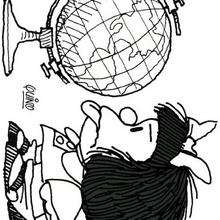 Desenho da Mafalda nervosa para colorir