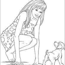 Desenho da Barbie com seu cachorrinho para colorir