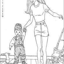 Desenho da Barbie com sua filha para colorir