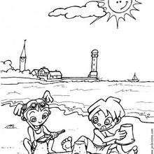 Desenho de crianças brincando na praia para colorir