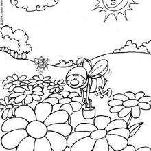 Desenho das abelhas indo trabalhar