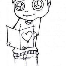 Desenho de um menino com um cartão do dia dos namorados para colorir
