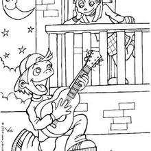 Desenho de um menino cantando uma canção de amor para colorir