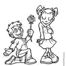 Desenho de um menino com flores para colorir