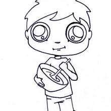 cozinhar, Máscara de um menino comendo chantilly para colorir