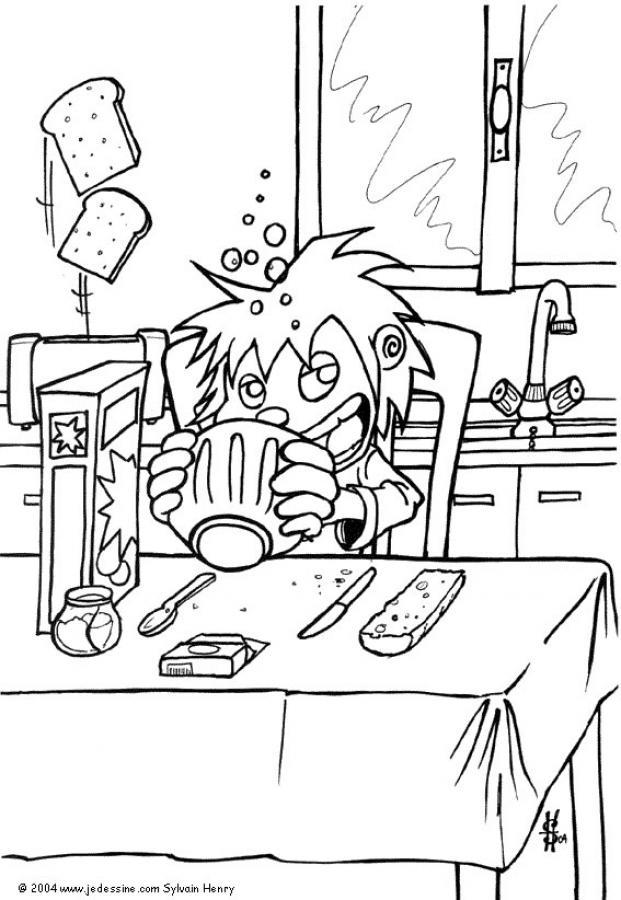 Desenho do café da manhã para colorir