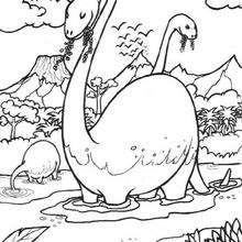 Desenho do Brontossauro na água para colorir