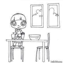 cozinhar, Desenho de uma menina fazendo cookies de chocolate para colorir