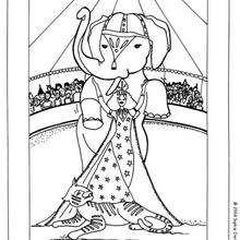 Desenho de um Elefante no Circo para colorir