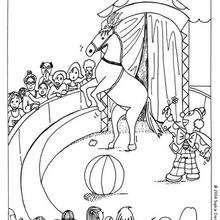 Desenho de um cavalo com palhaço para colorir